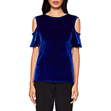 Buy Ted Baker Stellah Cold Shoulder Frill Velvet Top, Mid Blue Online at johnlewis.com