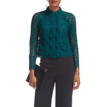 Buy Whistles Suzie Lace Shirt, Mineral Green Online at johnlewis.com