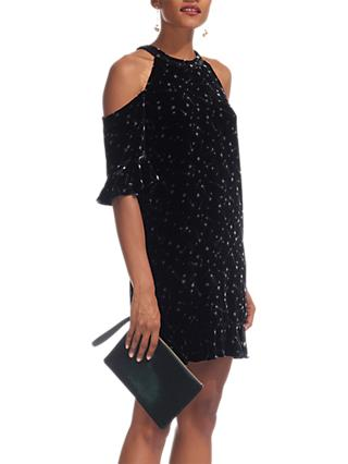 Whistles Velvet Constellation Dress, Black/White
