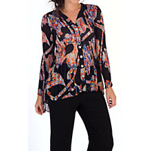 Buy Chesca Abstract Print Crush Pleat Blouse, Black/Orange Online at johnlewis.com