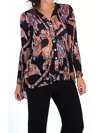 Chesca Abstract Print Crush Pleat Blouse, Black/Orange