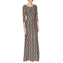 Buy Gina Bacconi Polly Floral Jacquard Maxi Dress, Black/Peach Online at johnlewis.com