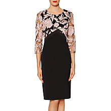 Buy Gina Bacconi Renatta Embroidered Bodycon Dress, Black/Peach Online at johnlewis.com
