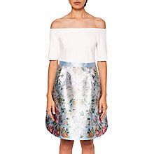 Buy Ted Baker Dewrose Patchwork Bardot Dress, Pale Blue Online at johnlewis.com