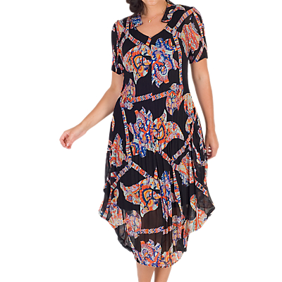 Chesca Abstract Print Crush Pleat Notch Neck Dress, Black/Orange