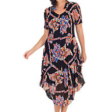 Buy Chesca Abstract Print Crush Pleat Notch Neck Dress, Black/Orange Online at johnlewis.com