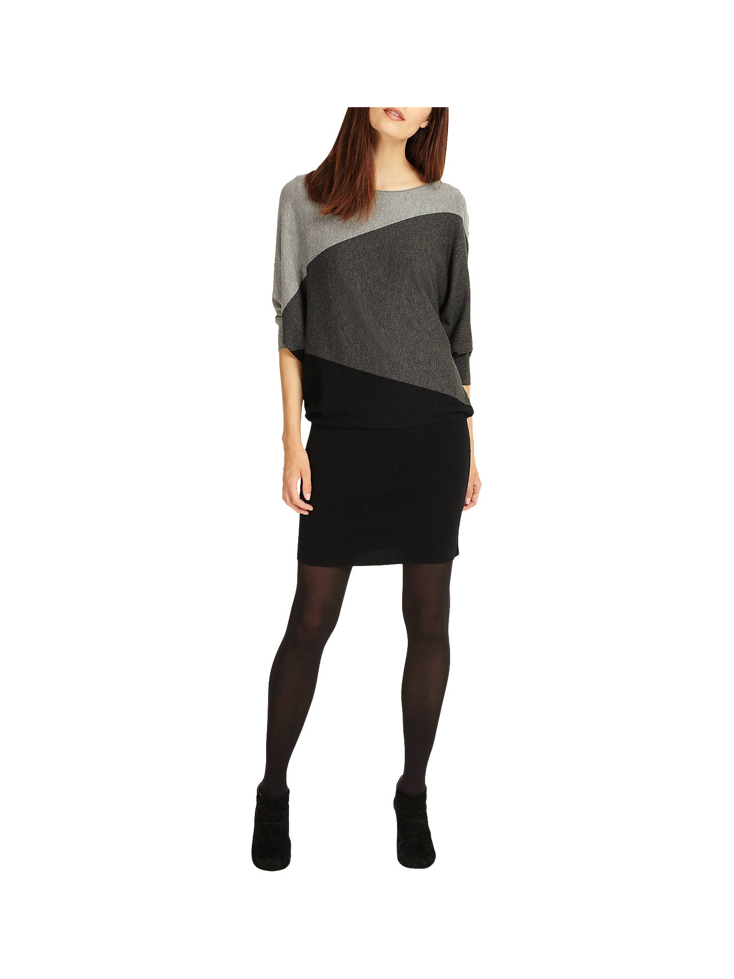 Phase Eight Becca Diagonal Block Dress Black Grey