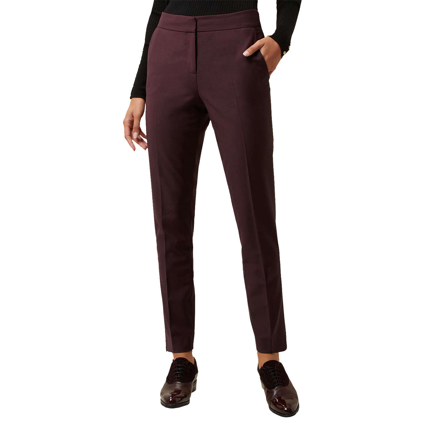 BuyHobbs Ayla Tapered Trousers, Dark Merlot, 6 Online at johnlewis.com