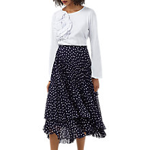 Buy Finery Baltic Print Pleated Skirt, Navy/White Online at johnlewis.com