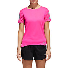 Buy adidas Response Short Sleeve Running T-Shirt, Shock Pink Online at johnlewis.com