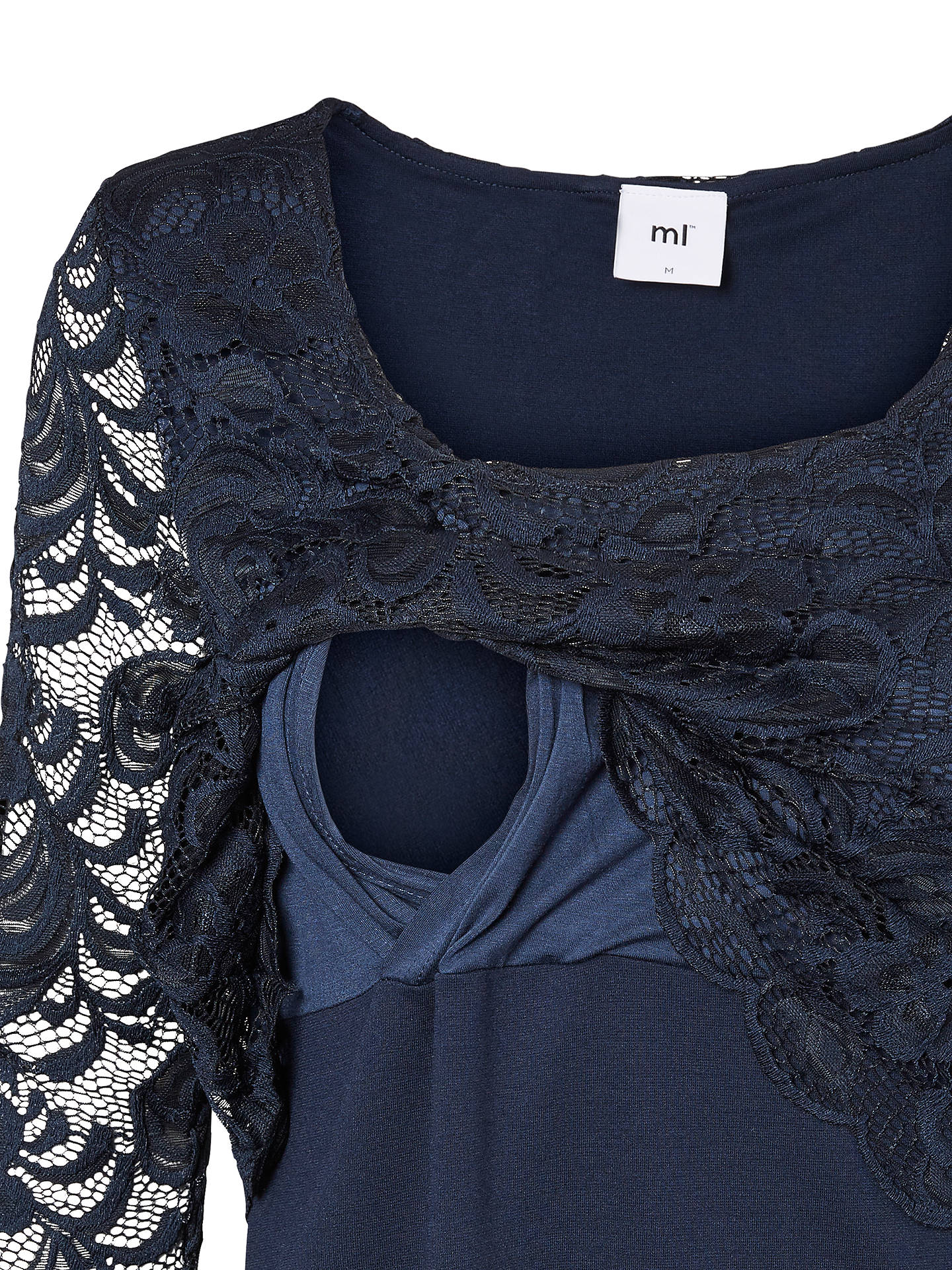 7bd7c44516a Buy Mamalicious June Lace Overlay Maternity Nursing Dress, Navy, S Online  at johnlewis.