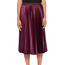 Buy Ted Baker Pleated Midi Skirt, Maroon Online at johnlewis.com