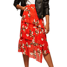 Buy Miss Selfridge Floral Print Asymmetric Midi Skirt, Multi Online at johnlewis.com
