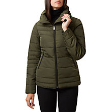 Buy Hobbs Una Long Sleeve Puffer Jacket, Khaki Online at johnlewis.com