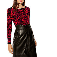 Buy Karen Millen Waist Stripe Leopard Print Jumper, Red/Black Online at johnlewis.com