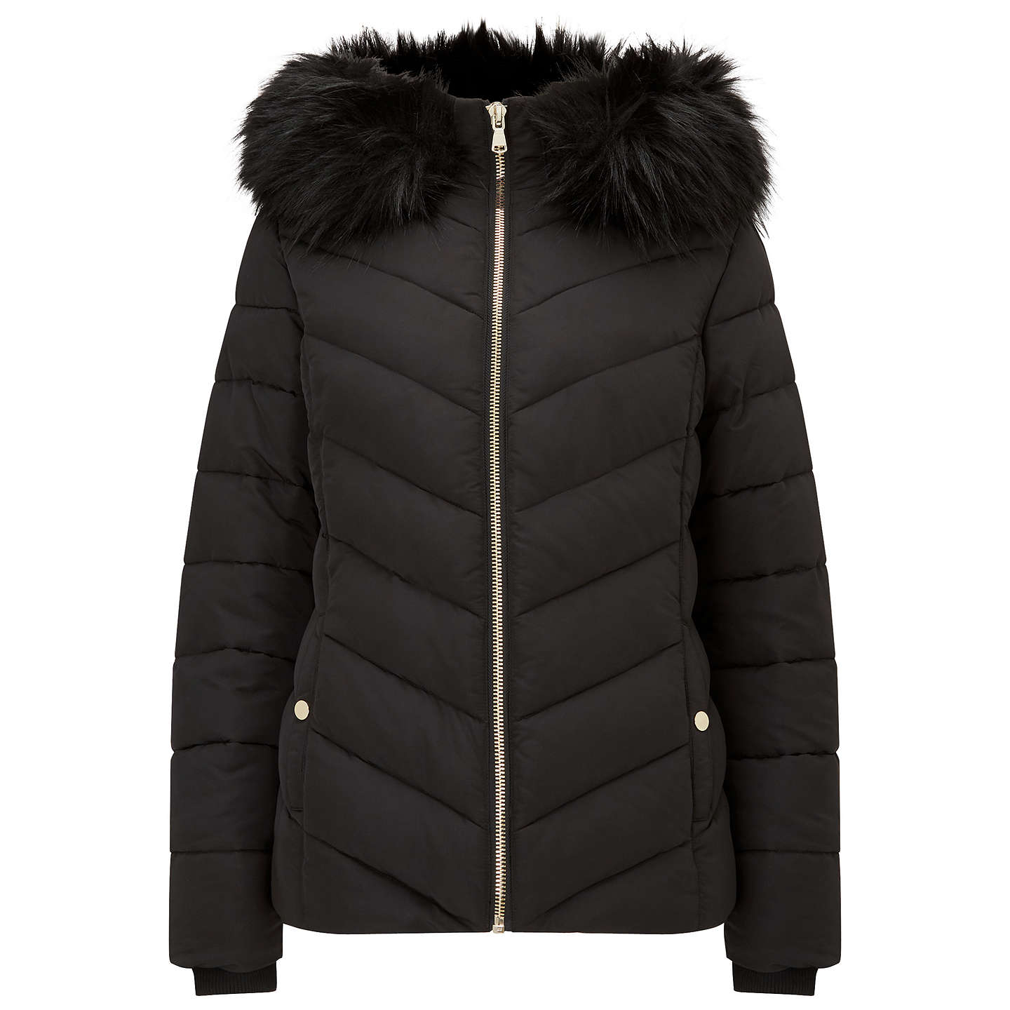 BuyMiss Selfridge Faux Fur Hood Puffer Jacket, Black, 6 Online at johnlewis.com