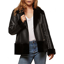 Buy Miss Selfridge Faux Fur Shearling Biker Jacket Online at johnlewis.com