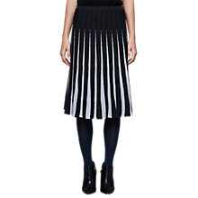 Buy East Merino Pleat Stripe Skirt, Black/White Online at johnlewis.com