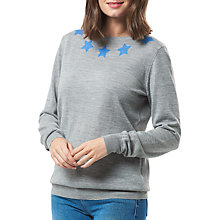 Buy Sugarhill Boutique Brooke Star Collar Merino Sweater, Grey/Blue Online at johnlewis.com