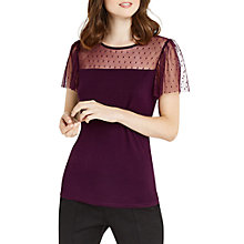 Buy Oasis Ruffle Mesh Fitted Top Online at johnlewis.com