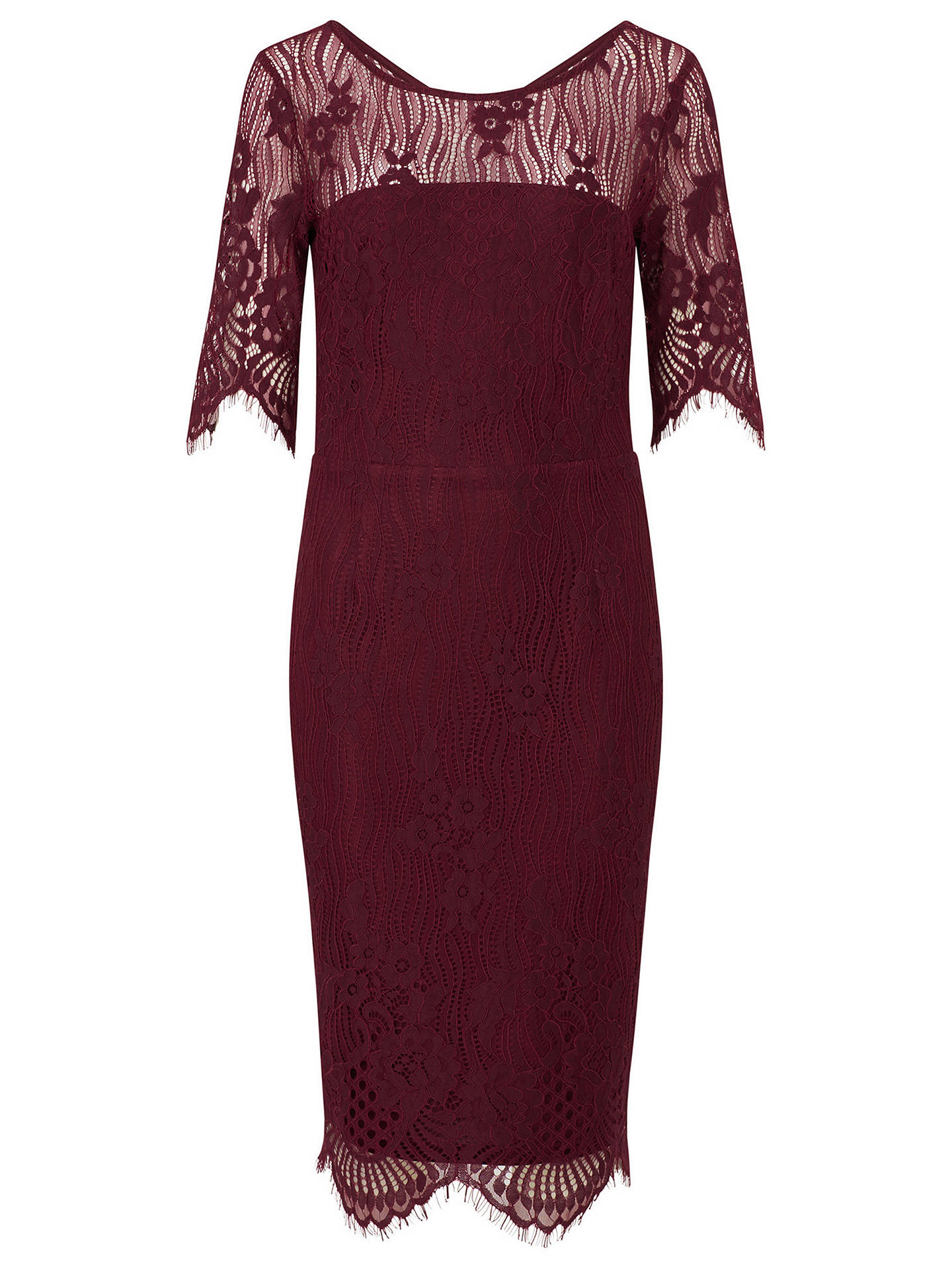 Buy Sugarhill Brighton Grace Lace Knee Length Dress, Burgundy, 8 Online at johnlewis.com