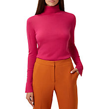 Buy Hobbs Larissa Roll Neck Jumper, Hot Pink Online at johnlewis.com