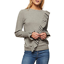 Buy Miss Selfridge Asymmetric Frill Jumper, Grey Online at johnlewis.com