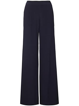 Winser London Satin Back Crepe Wide Leg Trousers, Midnight