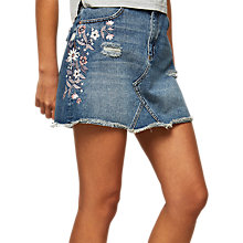 Buy Miss Selfridge Embroidered Denim Skirt, Mid Wash Denim Online at johnlewis.com