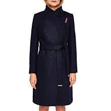 Buy Ted Baker Khara Boiled Wool Sparkle Wrap Coat, Navy Online at johnlewis.com