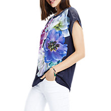 Buy Oasis Digital Floral Dream T-Shirt, Navy Online at johnlewis.com