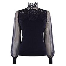 Buy Coast Cici Lace Long Sleeve Blouse, Navy Online at johnlewis.com