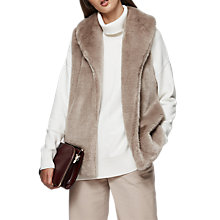 Buy Reiss Tora Faux Fur Gilet, Sand Online at johnlewis.com