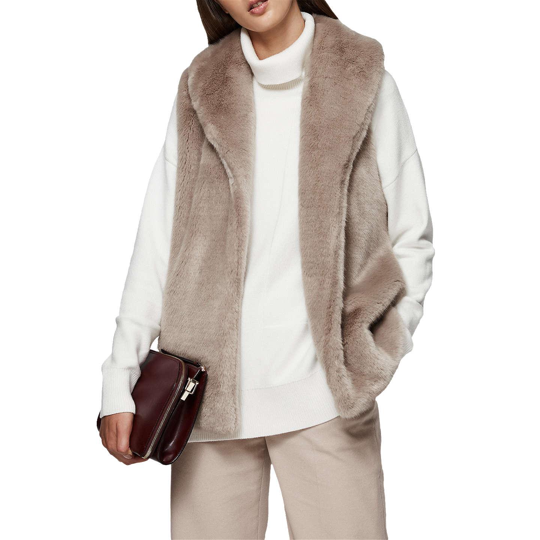 Tora - Faux-fur Gilet in Sand, Womens, Size 10 Reiss