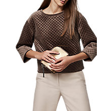 Buy Reiss Nia Quilted Velvet Sweater, Bronze Online at johnlewis.com