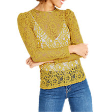 Buy Oasis Puff Sleeve Lace T-Shirt, Ochre Online at johnlewis.com