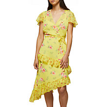 Buy Miss Selfridge Printed Wrap Dress, Yellow Online at johnlewis.com