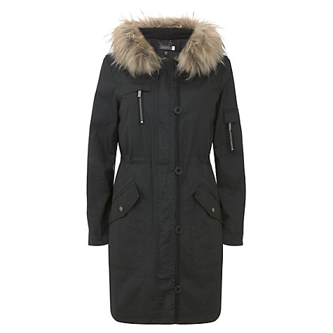 Buy Mint Velvet Wax Faux Fur Parka Coat, Black | John Lewis