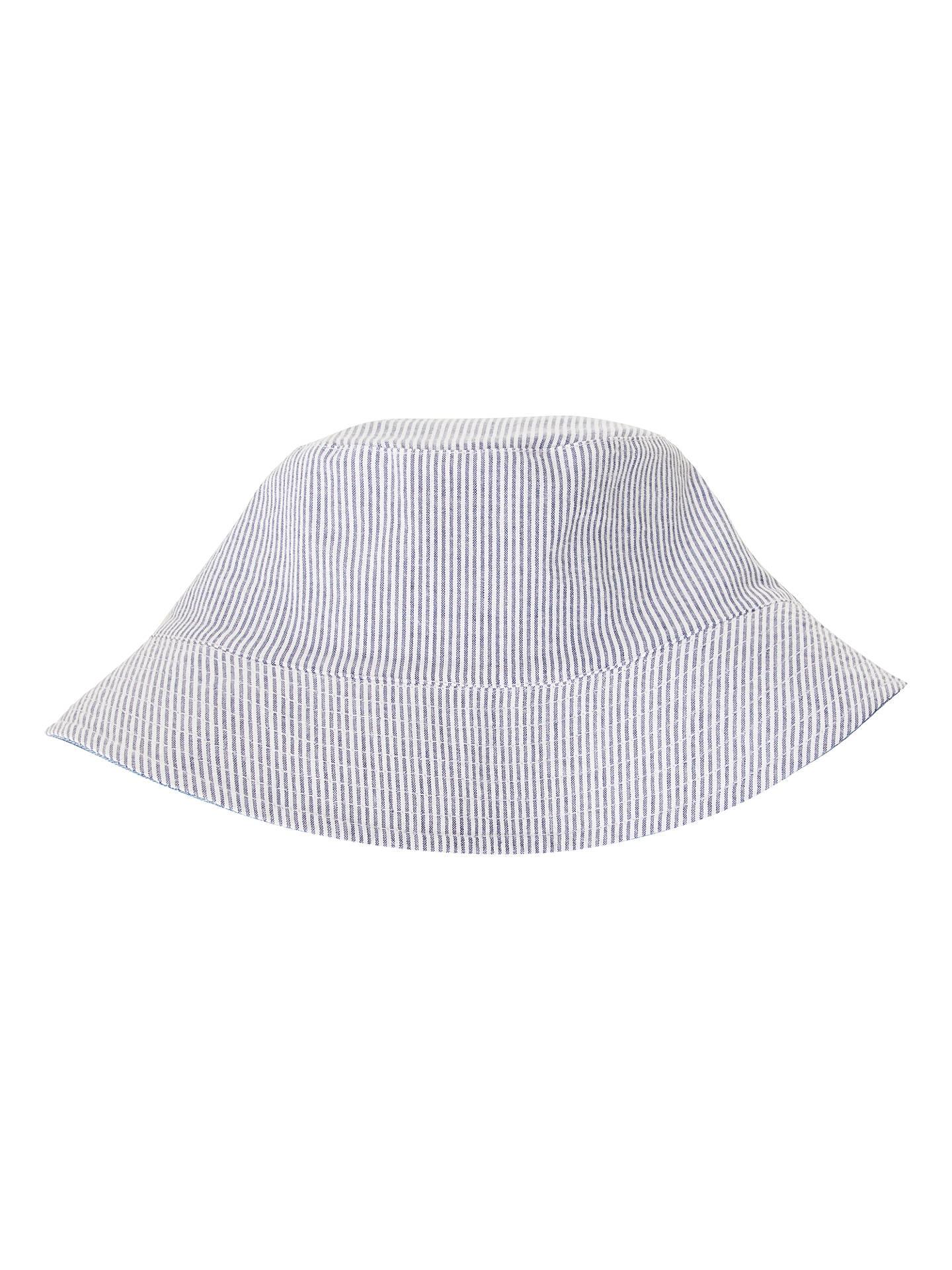 1d6f552679c ... BuyJohn Lewis   Partners Children s Chambray Stripe Reversible Bucket  Hat