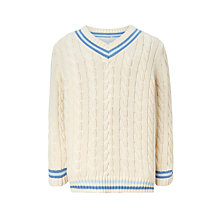 Buy John Lewis Heirloom Collection Boys' Stripe Cricket Jumper, Cream Online at johnlewis.com