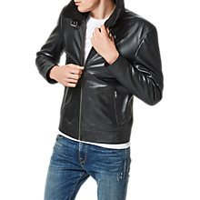 Buy Selected Homme Teddy Leather Jacket, Black Online at johnlewis.com