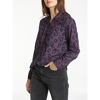 Lee Long Sleeve Animal Print Drawcord Shirt, Deep Plum