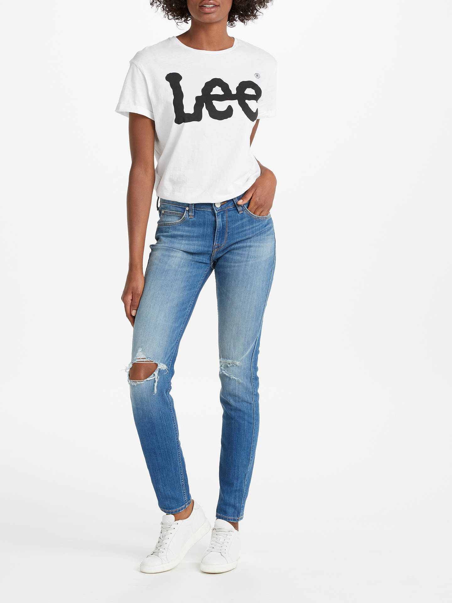 BuyLee Short Sleeve Logo T-Shirt, White, XS Online at johnlewis.com