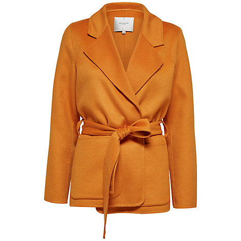 Buy Selected Femme Lija Belted Wool Blend Coat, Desert Sun Online at johnlewis.com