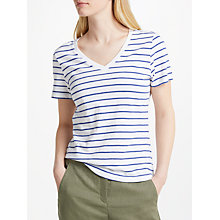 Buy John Lewis V-Neck Short Sleeve Cotton Slub T-Shirt, White/Blue Online at johnlewis.com