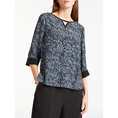 Kin by John Lewis Herringbone Print Top, Navy