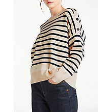 Buy Kin by John lewis Striped Compact Cotton Jumper, White Online at johnlewis.com