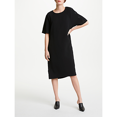 Kin by John Lewis Asymmetric Snap Sleeve Dress, Black