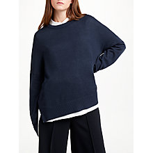 Buy Kin by John Lewis Tie Neck Jumper, Navy Online at johnlewis.com