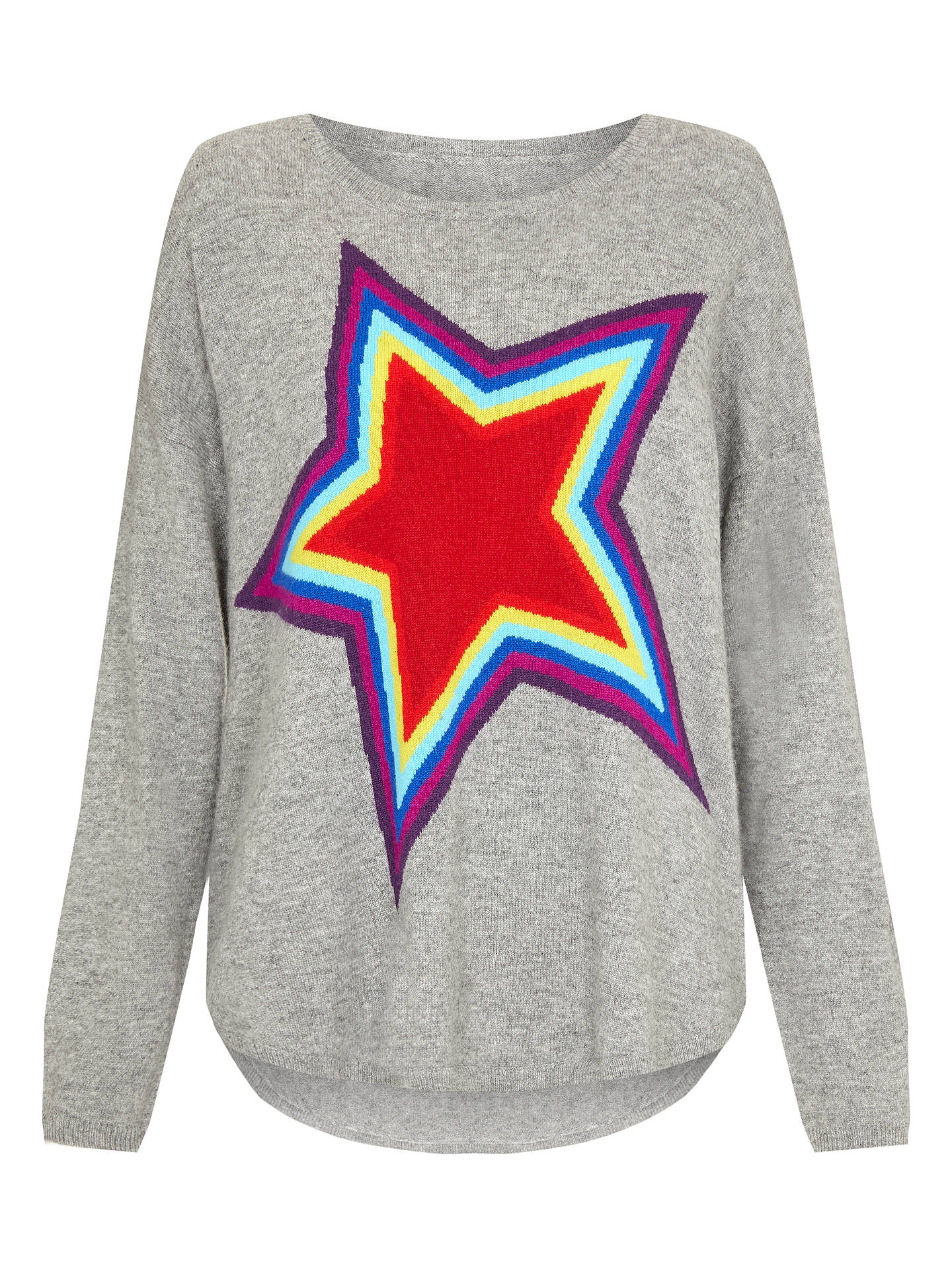 BuyWyse London Ziggy Rainbow Star Cashmere Jumper, Grey, S Online at johnlewis.com